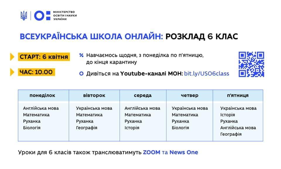 расписание онлайн уроков для 6 класса